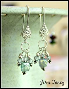 Blue fluorite and paraiba blue quartz dangle earrings.  So beautiful…