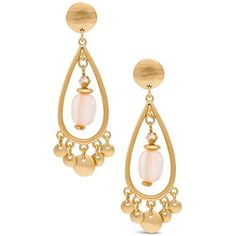 Chico's Clove Chandelier Earrings (£18) ❤ liked on Polyvore featuring jewelry, earrings, blush, teardrop hoop earrings, teardrop earrings, beaded jewelry, pink hoop earrings and chicos earrings