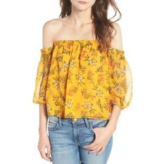 Women's Ella Moss Poetic Garden Off The Shoulder Silk Blouse ($178) ❤ liked on Polyvore featuring tops, blouses, mustard, yellow blouse, ella moss, mustard top, yellow off the shoulder top and ella moss blouse