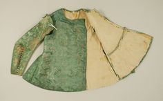c. 1645 doublet, British, made of silk and leather, The Metropolitan Museum of Art (front, showing inner lining)