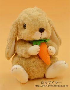 日本star child小兔子毛绒玩具公仔垂耳兔茶杯兔 胡萝卜 棕色-淘宝网