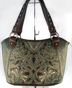 Concealed Carry Handbag CCW Purse Montana West Cut-Out & Rhinestones - Turquoise $69.99