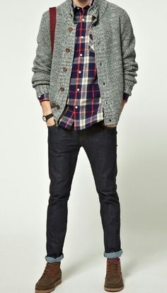 Like the look of this whole outfit with the jeans and plaid shirt and sweater, but I don't like this particular cardigan. I like a more chunky cardigan look like others on this board Look Fashion, Winter Fashion, Mens Fashion, Fashion Trends, Fashion Updates, Fashion Styles, Fashion Inspiration, Style Casual, Men Casual
