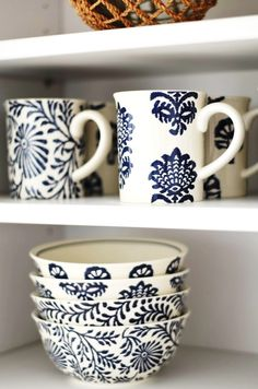 coastal ceramics! Blue and white mugs and bowls look good in any country kitchen