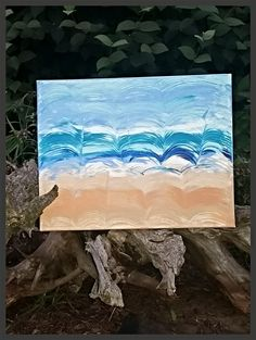 Beach inspired waves nautical themed canvas - pinned by pin4etsy.com
