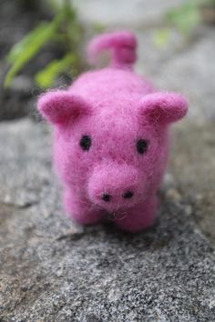 Pink Needle Felted Pig - OOAK