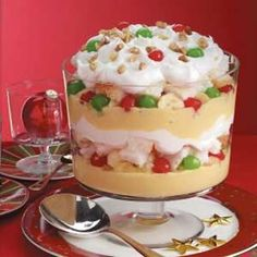 Christmas Trifle. 1 can crushed pineapple, 3 bananas, 1 jar red maraschino cherries, 1 jar green maraschinos, 3-1/2 c eggnog, 2 pkg instant vanilla pudding, 1 prepared angel food cake, 1 carton whipped topping, ¼ c walnuts