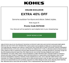 3267f1569846  Sonoma  Kohls Extra 40% Off Select Sonoma Outdoor Furniture And Decor  Printable Coupons