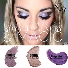 Purple. Such a powerful color! It's also the color that symbolizes Younique! our splurge cream shadows offer 3 beautiful shades of purple. From the elegant Dainty, which is a light silvery lilac to the bold and intense Majestic which is our richest purple shadow we offer! Want something in the middle?! We got you covered girl! Give those eyes just the right pop of color with Noble, which is a deep lavender!