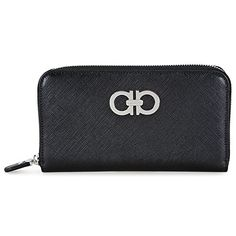 Women's Wallets - Salvatore Ferragamo Womens B300 Gancini Icona Wallet Nero Saffiano Checkbook Wallet >>> Be sure to check out this awesome product.