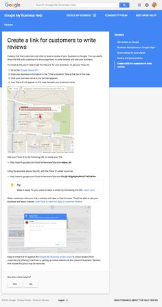 New Google Help Page - To Create a Link for Customers to Write Reviews
