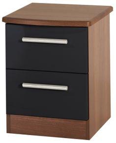 Knightsbridge Black Bedside Cabinet 2 Drawer Cabinets Bedroom Drawers Dresser