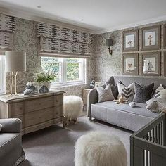 Gray Nursery with Andrew Martin Ark Wallpaper in Parchment