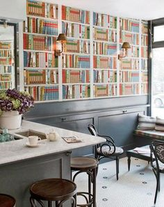 I want to have wall to wall real bookshelves filled with books with the fake wallpaper spotted throughout an see how many go for the fake books.
