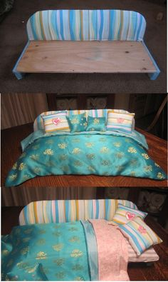 American Girl Doll Daybed by poppymom American Girl Crafts, American Girl Clothes, American Dolls, Ag Dolls, Girl Dolls, Barbie Doll, American Girl Furniture, American Girl Accessories, Doll Accessories