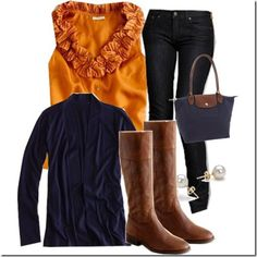 LOVE this outfit! Great fall colors! Navy with mustard color top great for blondes/brown eyed.