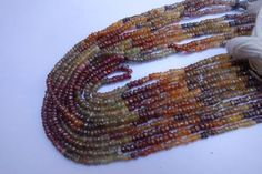 13 inch  natural multi spinel Faceted rondell beads single strand 3mm-4mm