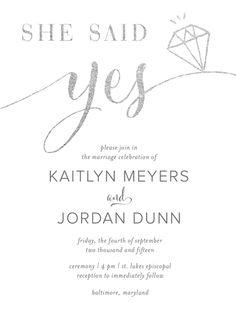 Personalized Stationery - She Said Yes Invitation