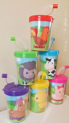Farm Animals Personalized Party Favor Cups, Birthday Treat Cups, Cow, Horse, Duck, Sheep, Bird, Pig Barn Rooster Set of 6