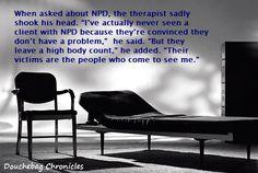 An NPD walks into a therapist's office