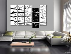... white tree landscape contemporary modern painting modern art black and