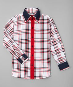 Loving this Red Plaid Slim-Fit Button-Up - Toddler & Boys on #zulily! #zulilyfinds
