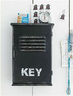 Gleich die Schlüssel anhängen!!! Dann muß man auch nicht mehr suchen. Schlüsselkasten im Antiklook schwarz lackiert.