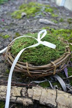 moss ring pillow for woodland wedding