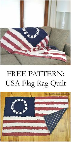 Get ready for summer sewing with this free quilt pattern of the USA flag! It's the actual size of a US flag, and it's a rag quilt which makes it a lot easier to sew and make! FREE PATTERN: USA Flag Rag Quilt - Heather Handmade