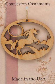 Unicorn Ornament  Unicorn Christmas Ornament  by PalmettoEngraving