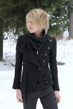 """I disagree with the original post, """"goth/hipster"""". I find this to be a rather fashionable jacket, a pleasant combo of steampunk and professional."""