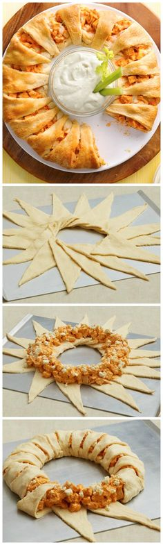 Chicken Crescent Ring Classic Buffalo Chicken filling inside a buttery-crunchy crescent roll is a great game day appetizer!Classic Buffalo Chicken filling inside a buttery-crunchy crescent roll is a great game day appetizer! Chicken Appetizers, Appetizers For Party, Appetizer Recipes, Party Snacks, Parties Food, Party Recipes, Party Games, Dinner Recipes, Dinner Ideas