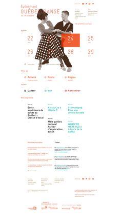 Québec Danse 2013 \\ Nice & clean webdesign. I like the creative sorting on the homepage.
