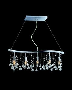 5 Lights Modern Style Chrome Island Light with Crystal Ornaments