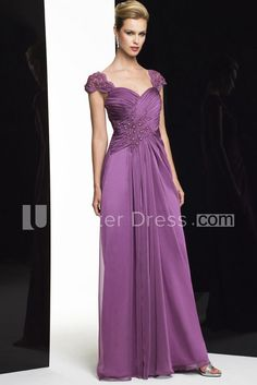 $137.09-Beautiful Sheath  Criss-Cross Long Sweetheart Satin Chiffon Purple Long Mother of the Groom Dress With Cap-Sleeves. http://www.ucenterdress.com/sheath-cap-sleeve-criss-cross-long-sweetheart-satin-chiffon-formal-dress-with-beading-pMK_300225.html.  Tailor Made mother of the groom dress/ mother of the brides dress at #UcenterDress. We offer a amazing collection of 800+ Mother of the Groom dresses so you can look your best on your daughter's or son's special day. Low Prices, Free…