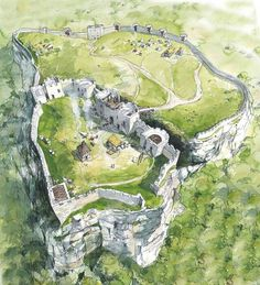 Wilderness Castle Ruins bluff hill cliff campsite – home acssesories Fantasy City, Fantasy Castle, Fantasy Places, Fantasy Map, Medieval Fantasy, Fantasy Artwork, Fantasy World, Environment Concept Art, Environment Design