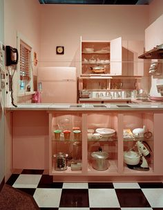 Pink kitchen, Reflections Exhibition, Missouri History Museum - Photography by Cary Horton, 2006