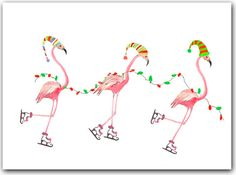 These flamingo's are in the Christmas mood! Inspiration for greetings cards.