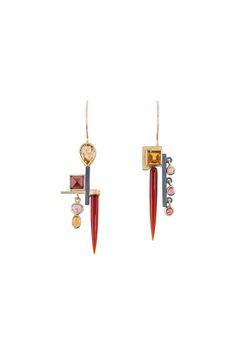 #EARRINGS - 18KT, OXIDIZED STERLING SILVER, CARNELIAN, CITRINE, ORANGE SAPPHIRE