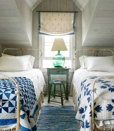 Decorating Ideas from a Nantucket Cottage Century-old quilts in Pinwheel (left) and Bear's Paw patterns dress these antique wrought-iron beds.Century-old quilts in Pinwheel (left) and Bear's Paw patterns dress these antique wrought-iron beds. Cottage Style Bedrooms, Coastal Bedrooms, White Bedrooms, Attic Bedrooms, Bedroom Country, Beach Bedrooms, Cozy Bedroom, Bedroom Decor, Bedroom Ideas
