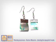 Pendientes - Upcycled electrónica - eco friendly - geek reciclado - filtro de…