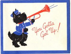 Vintage GET WELL Card ANTHROPOMORPHIC SCOTTY DOG PLAYS HORN Trumpet  Band Parade