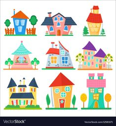 Cute cartoon houses collection Funny colorful kid vector image on VectorStock Cartoon Images, Cartoon Drawings, Cute Cartoon, My Drawings, House Drawing For Kids, House Clipart, Kids Vector, Cottage Art, House Illustration