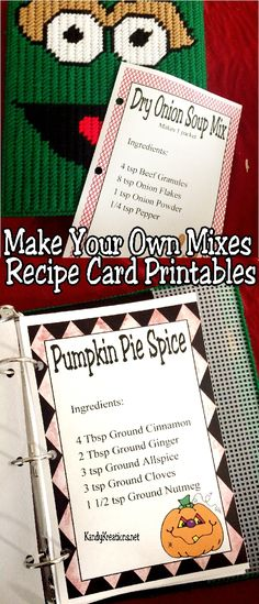 Make your own mixes at home with these beautiful and fun recipe card printables.  You will save time, money, and energy with these printables that keep everything organized and ready to finally be made.