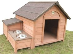 DH-12 Wooden Dog House  DH-12 Wooden Dog House has shingles roofing which allows rain to run down more efficiently.  Center entrance provides increased shelter and more space for turning around. Storage for toys or food. - See more at: http://www.large-dog-houses.com/blog/lang/us/dh-12-wooden-dog-house/#sthash.Qd84C8xR.dpuf