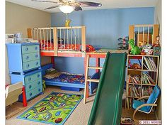 This is what I am thinking for the boys' room. Except I would make the whole loft a bed area so both can sleep up there eventually and then fun activity stuff underneath. Love the slide too.