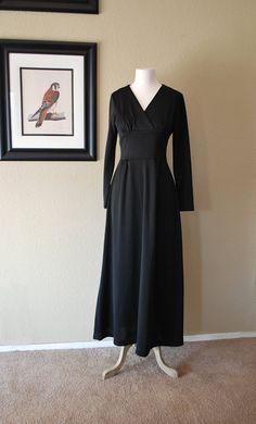 Maxi Dress Black Vintage 60s by WaistlandVintage on Etsy, $36.00