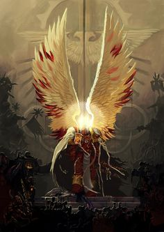 Warhammer 40k: Primarch Sanguinius facing Chaos Space Marines