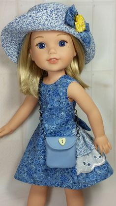 Wellie Wisher Blue Party Dress Hat and by DollClothesbyShirley Hat Patterns To Sew, Doll Dress Patterns, Clothing Patterns, Wellie Wishers Willa, American Girl Wellie Wishers, Blue Party Dress, Ag Doll Clothes, Girl Dolls, Ag Dolls