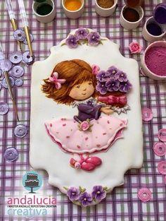 Niña primavera master - Cake by Eva bella daucousse Cookies For Kids, Xmas Cookies, Iced Cookies, Birthday Cookies, Fun Cookies, Cupcake Cookies, Sugar Cookie Icing, Cookie Frosting, Royal Icing Cookies